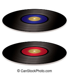 pair of old fashioned vinyl record albums with blue and red labels