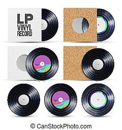 Lp Record Vector. Vinyl LP Cover Plate Mockup. Retro Vintage Album. Audio Background Illustration