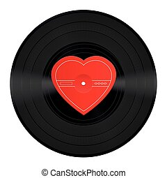 LP Record Vinyl Heart Love Song - LP record with blank heart...