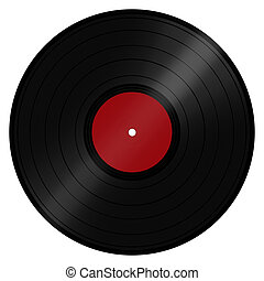 Classic retro/vintage music LP record disc popular with DJs and the disco scene. Isolated on a white background with clipping path.