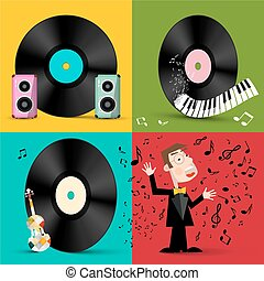 LP - Vinyl Record Discs with Speakers, Piano Keyboard, Violin and Singer. Vector Retro Music Symbols Illustration.