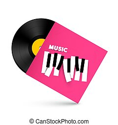 LP Vinyl Record with Music Symbol on Paper Cover. Retro Vector Object with Piano Keyboard Design.