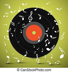 LP. Vinyl Record with Notes on Green Background. Vector.