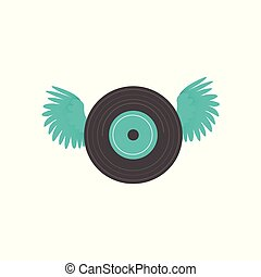 LP, vinyl record with open wings, rock music icon