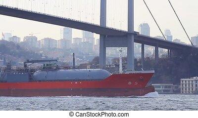 LPG tanker ship sailing in Bosporus waters in Istanbul....