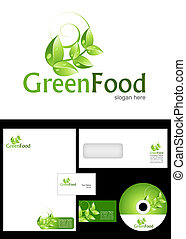 Green Food Logo Design and corporate identity package including logo, letterhead, business card, envelope and cd label.