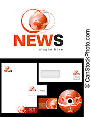 News Blog Logo Design and corporate identity package including logo, letterhead, business card, envelope and cd label.