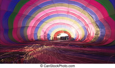 LS Inside Hot Air Balloon - LS from inside an inflating hot...