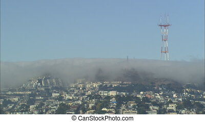 LS Sutro Tower In Fog - LS of Clarendon Heights with the...