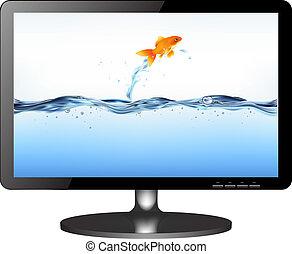 lsd, tv beeldscherm, met, springt, visje