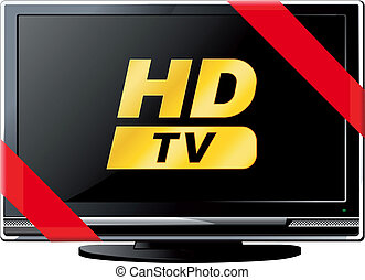 LSD TV with a red ribbon - Modern LSD HD TV with a red...