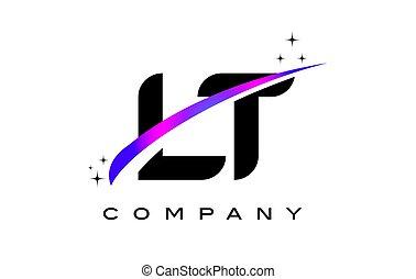 LT L T Black Letter Logo Design with Purple Magenta Swoosh