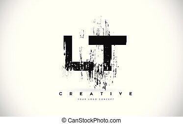LT L T Grunge Brush Letter Logo Design in Black Colors...
