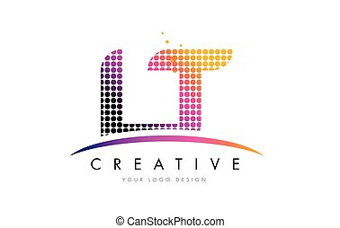 LT L T Letter Logo Design with Magenta Dots and Swoosh - LT...