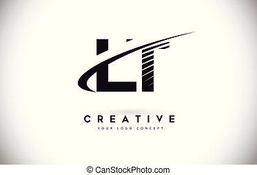 LT L T Letter Logo Design with Swoosh and Black Lines....