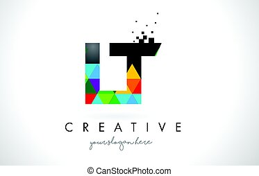 LT L T Letter Logo with Colorful Triangles Texture Design...