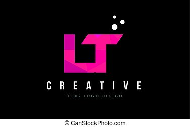 LT L T Letter Logo with Purple Low Poly Pink Triangles...