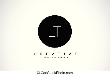 LT L T Logo Design with Black and White Creative Text Letter...