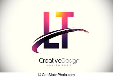 LT L T Purple Letter Logo with Swoosh Design. Creative...