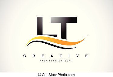 LT L T Swoosh Letter Logo Design with Modern Yellow Swoosh...