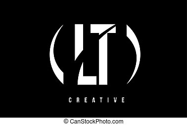 LT L T White Letter Logo Design with Black Background. - LT...