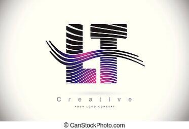 LT L T Zebra Texture Letter Logo Design With Creative Lines...