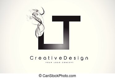 LT Letter Logo Design with Black Smoke. Creative Modern...
