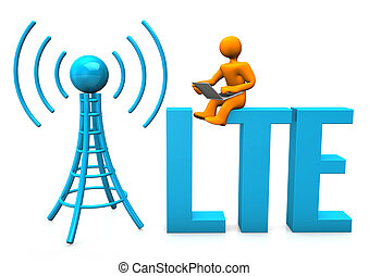 LTE Manikin - Orange cartoon character with laptop, antenna...