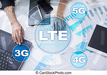 LTE networks. 5G mobile internet and technology concept. -...