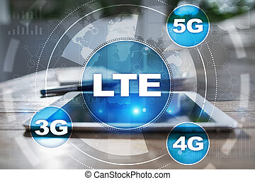LTE networks. 5G mobile internet and technology concept.