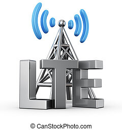 LTE transmitter - Metal antenna symbol with letters LTE on...