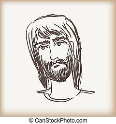 lThe man's head with a beard