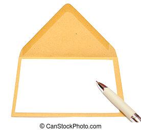 ltter, papel, e, envelope