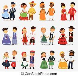 lttle, カップル, 別, 子供, illustration., かわいい, 特徴, 国民, 女の子, 衣装,...
