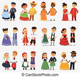 lttle, parejas, diferente, niños, illustration., lindo, ...