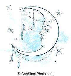 lua azul, crescente, moonstones