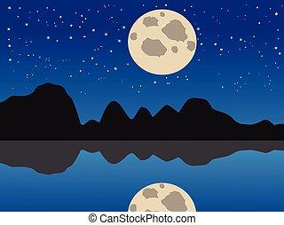 lua azul, lago, fundo, noturna