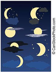 lua azul, nuvens, estrelas, céu
