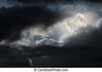 lua cheia, céu noite