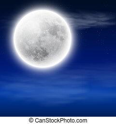 lua cheia, em, a, céu noite, com, nuvens