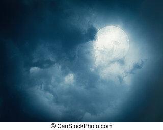 lua cheia, ligado, um, céu nublado