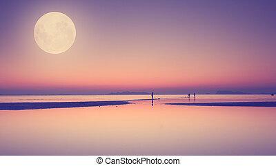 lua cheia, sobre, azul, mar, e, céu, exposição, técnica,...