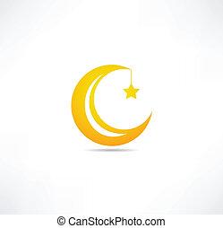 lua, e, estrela, ícone