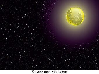 lua, e, estrelado, noturna