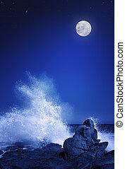 lua, e, seascape, à noite