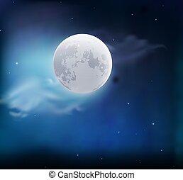 lua, em, a, céu, com, clouds., noturna, paisagem., vetorial