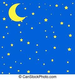 lua, em, a, céu, ilustração