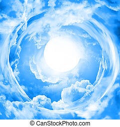 lua, em, céu azul