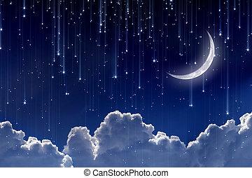 lua, em, céu noite