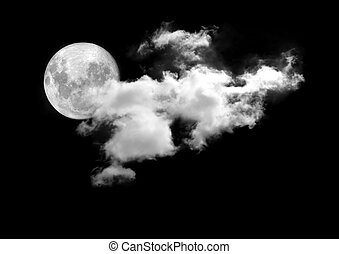 lua, entre, a, nuvens